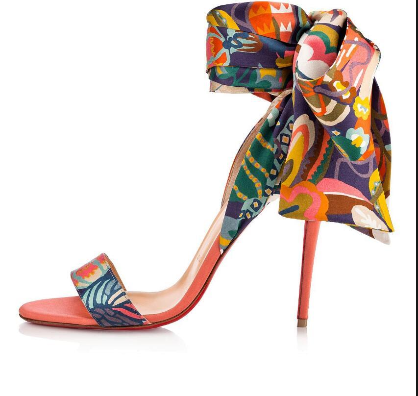 Сексуальные Женщины Свадебное Платье Высокие Каблуки Сандалии Красные Нижние Каблуки Для Женщин Сандалии, Роскошные Имя Дизайн Красные Подошвы Обувь Sandale Du Desert Печатных