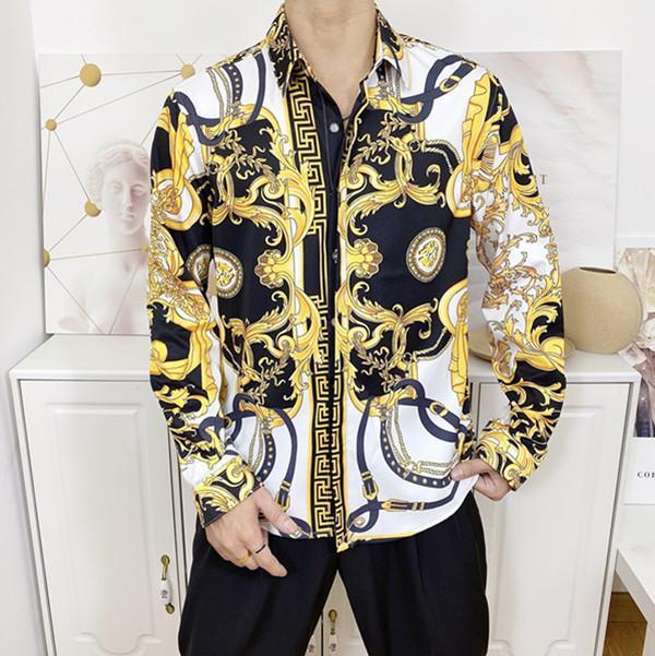 2020 Brand New Mens Medusa рубашка с длинными рукавами 2019 Slim Fit платье рубашки Бизнес Повседневные мужчины рубашкой # 457