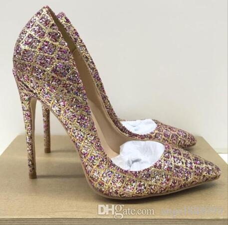 Frete Grátis moda Feminina Bombas Multi Color Gold Glitter Strass dedo apontado Sandálias de Salto Alto Sapatos de Casamento Da Noiva Bombas 120mm 100mm 8 cm