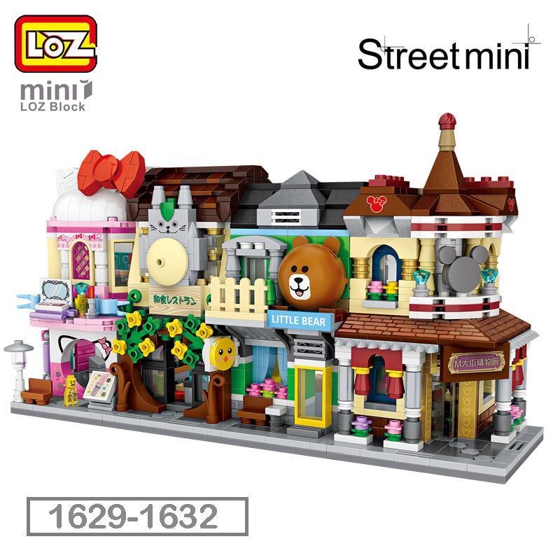 어린이 선물 1629-1632에 대한 LOZ 미니 블록 미니 Street 도시 3D 빌딩 블록 하우스 만화 숍 모델 DIY 조립 완구