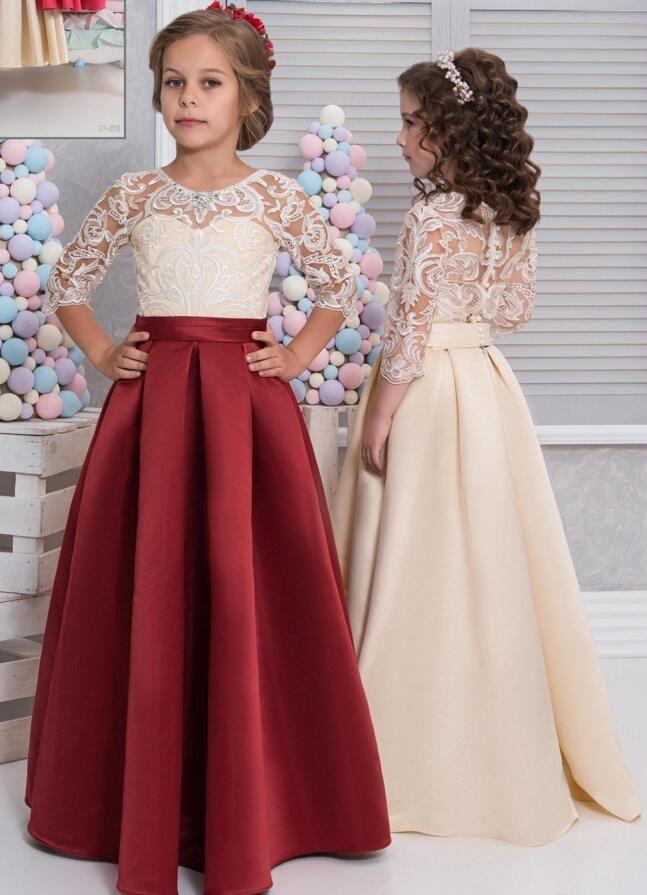 Vintage Arabic 2019 Flower Girl Dresses Half Sleeves Satin Child Dresses Beautiful Flower Girl Wedding Dresses