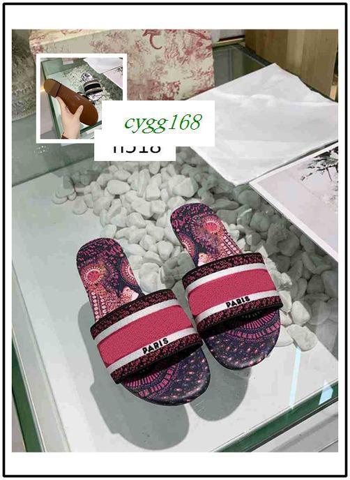 Las últimas New mujer ocio clásica de primavera y verano de letras estéreo trenzas bordado zapatillas elegante impreso tamaño de los deslizadores 36 1