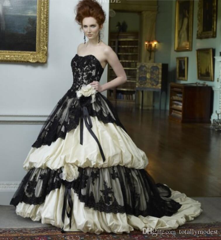 Robe de mariée vintage en taffetas de robe de bal noire et crème de perles en dentelle de perles chérie Corset Retour noir gothique robes de mariée non blanc