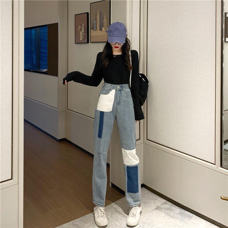 Moda di contrasto di colore Patchwork Appliques pantaloni diritti vita alta Hip Button Design denim pantalone allentato casuale Jean