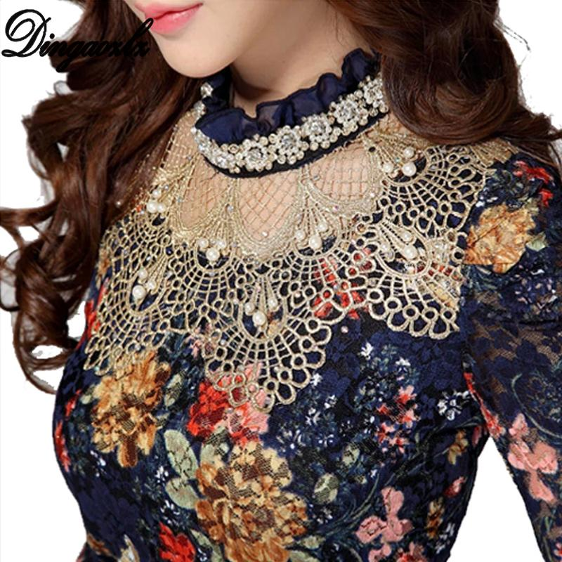 Dingaozlz Women's Lace shirt female Lace Blouses long-sleeve Hollow Floral Lace Tops Slim Elegant Beaded Gauze Chiffon shirts T200322