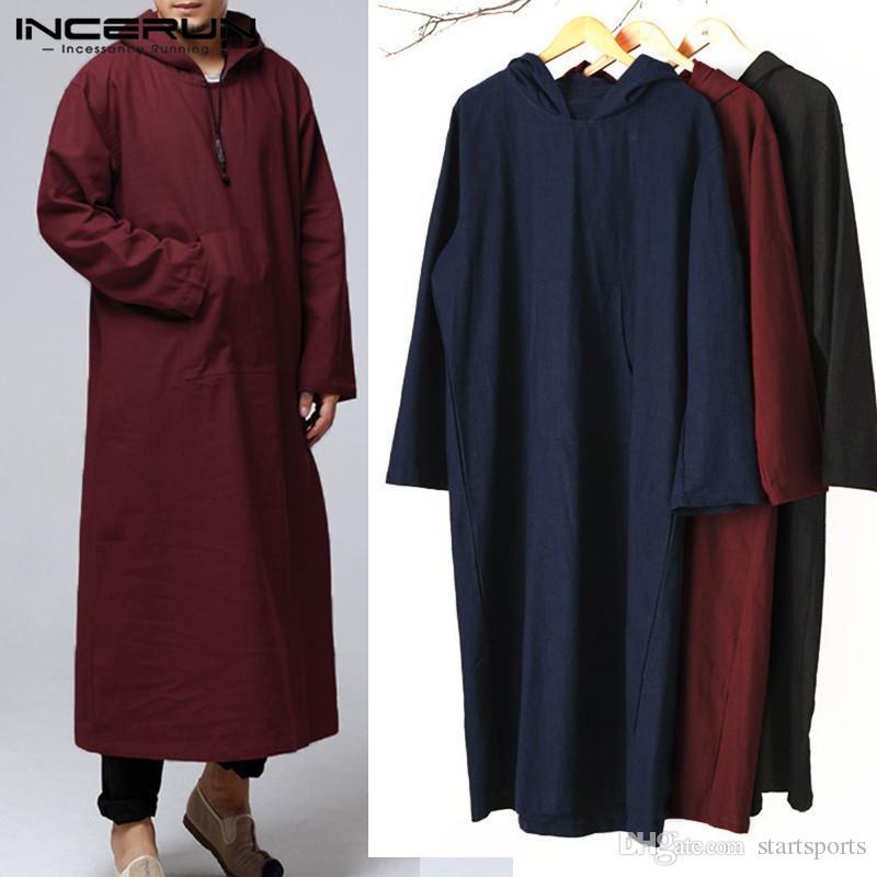 INCERUN Men Hoodies Hooded Long Sleeve Vintage Pockets Robe Arab Islamic Kaftan Muslim Clothes Loose Solid Cotton Sweatshirt Men #345506