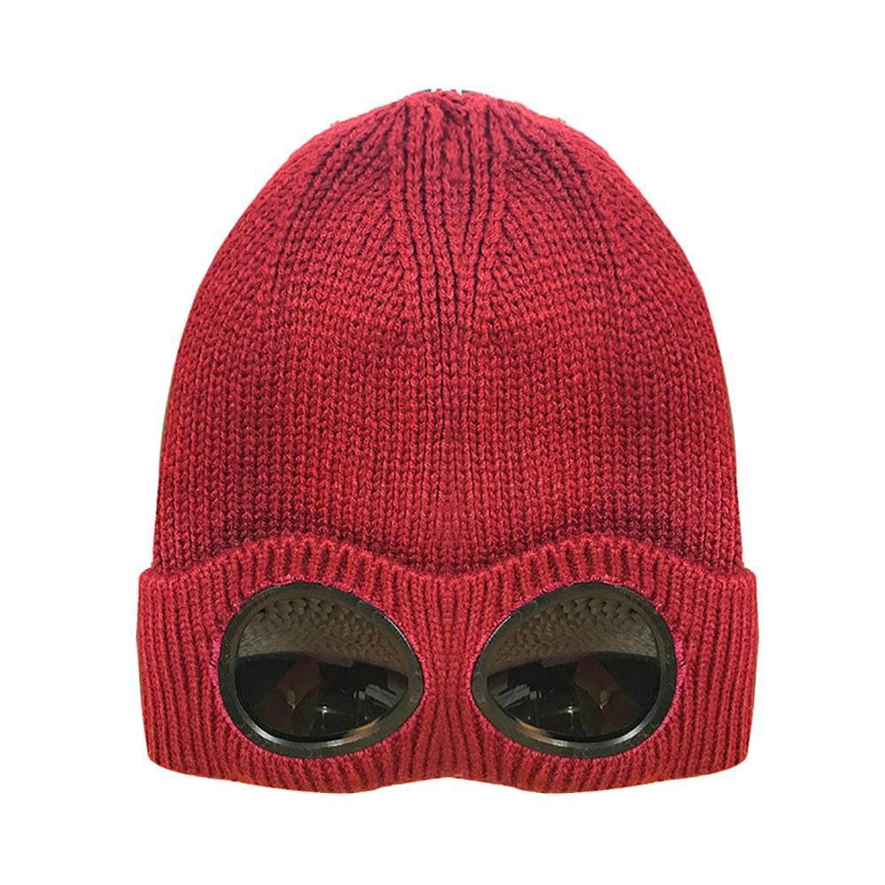 Lã Unisex malha Goggles Beanie, Lazer térmica quente Fluffy Outono Inverno Hat Cap Sports Calor Keeper Ear neve fria Protector