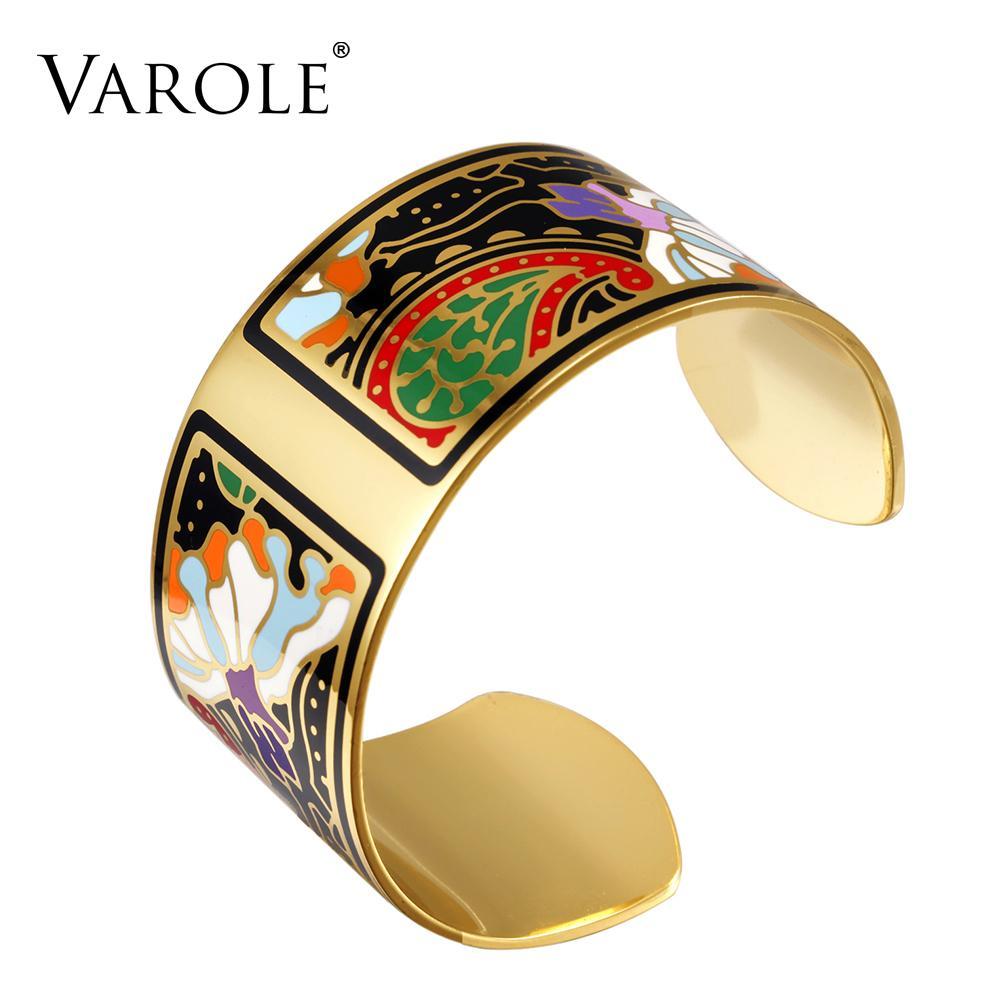 Varole Moda Pulsera Ancha Brazalete Patrón de Diseño de Color Pulsera de Apertura Para Mujeres Madre Esmalte Pulseras de Oro Jonc Pulseras Y19051101