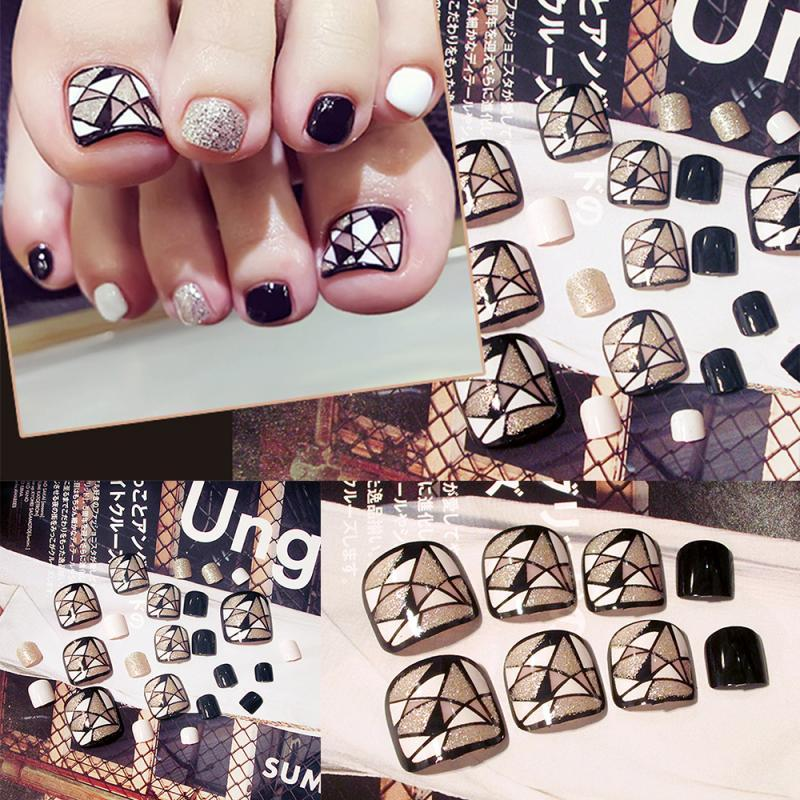 24 sistemas de acabado de uñas del pie uñas uñas de los pies los clavos falsos del uña del dedo etiqueta de la cubierta completa del arte de DIY Accesorios para herramientas manicur Con gratuito de pegamento