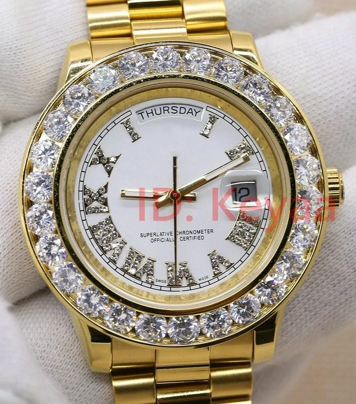 Elmas A2813 18K mens Başkan Day-Date elmas izle erkekler saatler otomatik safir orijinal Mekanik kol saati