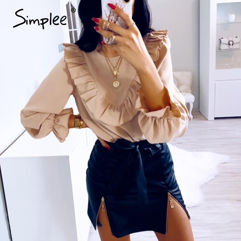 Simplee Elegant ruffled o-neck women blouse shirt autumn Puff sleeve solid female top blouse Casual streetwear ladies top shirt CX200615