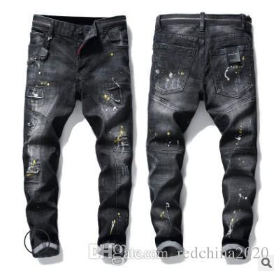 2020 New Distressed Ripped Vente chaud Hommes Designer Jeans Slim Fit Denim droite Patches Détruite Lavé Casual Pantalons 3896