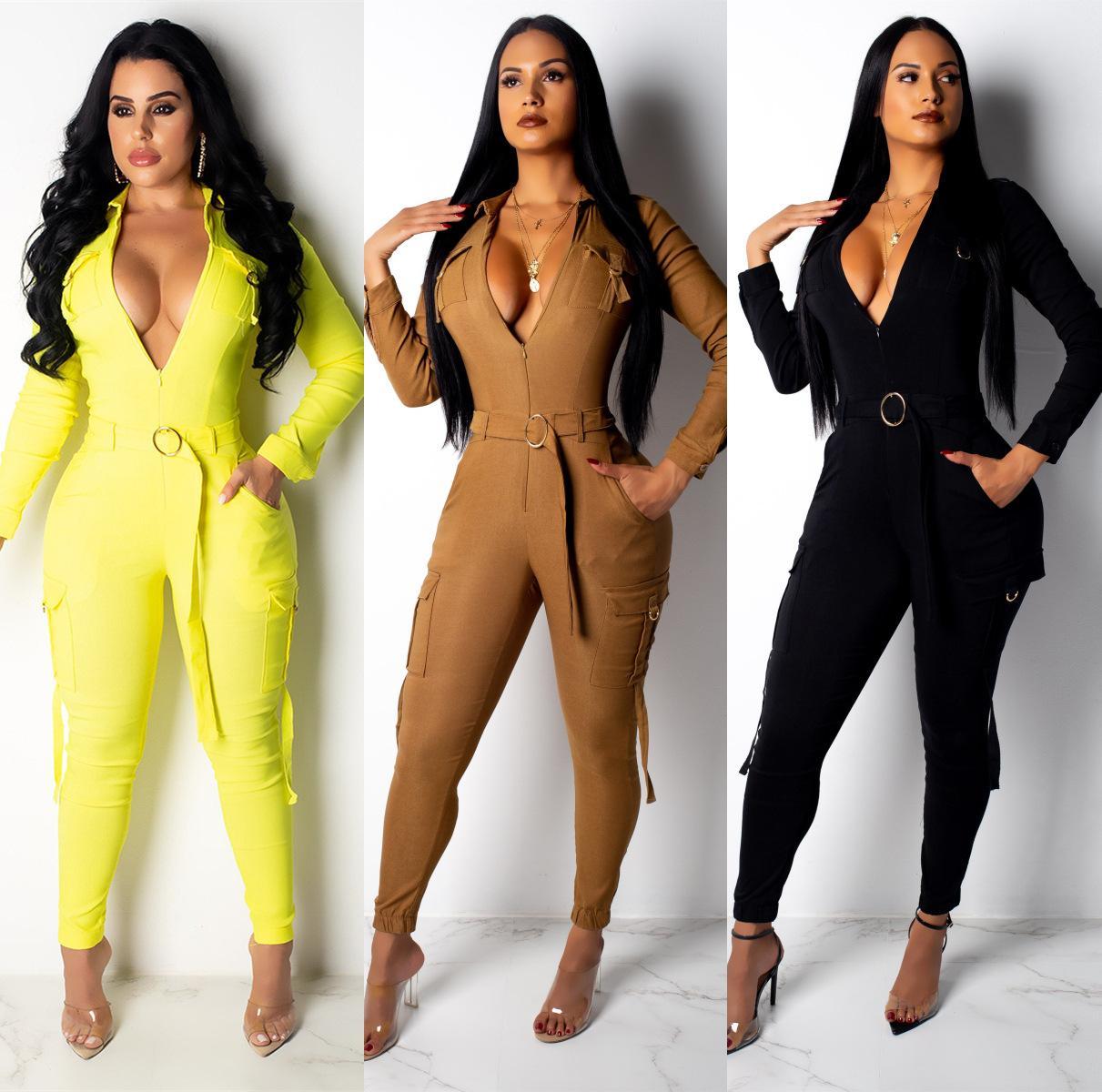 Womens tute Slim Fit Body Moda a maniche lunghe pantaloni lunghi delle tute casuale del vestito solido di colore asiatico formato S-2XL