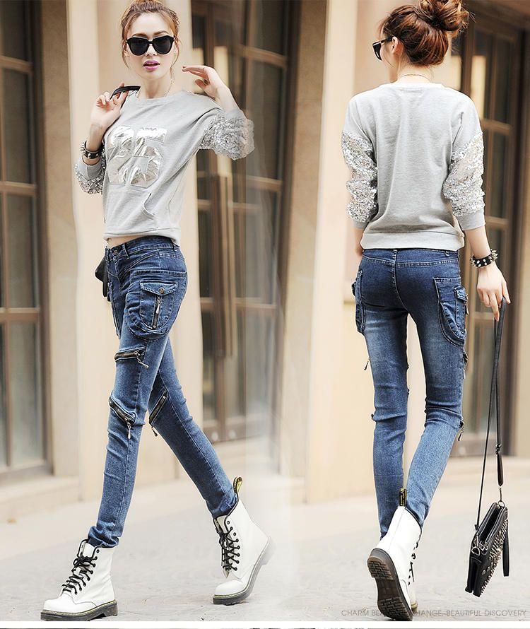 Dark Blue La nouvelle personnalité féminine Jeans Pantalons Mode Big Yards Pantalons Sac Zipper Harlan Pieds Plus Bound