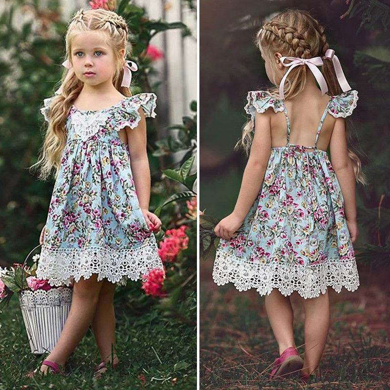 Kinder Mädchen mit Blumenmuster Spitze Kleidung Fliegen-Hülsen-Kinder Prinzessin-Kleid-Mädchen-Kleidung Vestidos
