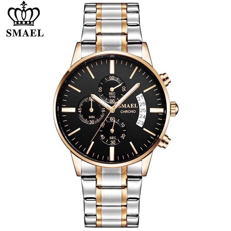 Smael Mens Negócios completa Aço Casual impermeável Sport relógio de quartzo Homens Moda Data Relógio Chronograph Relógio Masculino