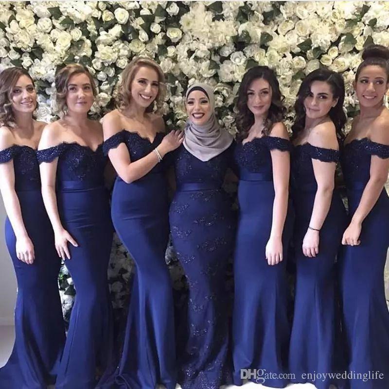 2019 Off Shoulder Slim Mermaid Long Bridesmaids Dresses Lace Appliques Formal Guest Honor Of Maid Vestidos De Bridesmaid Dress