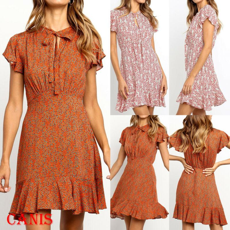 Femmes Boho Casual Sexy vacances à manches courtes lacent Imprimer Holiday Beach Party taille haute Ruffle Mini robe Robe