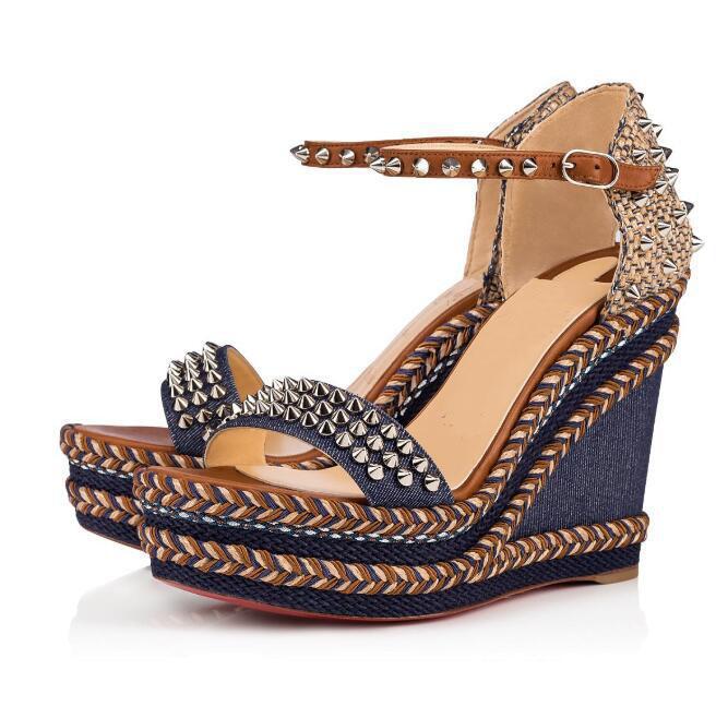 Hot vendre- pointes de sangle coin corde tressée fond Madmonica rouge cheville spartiates dames sexy sandales d'été des talons hauts EU35-42