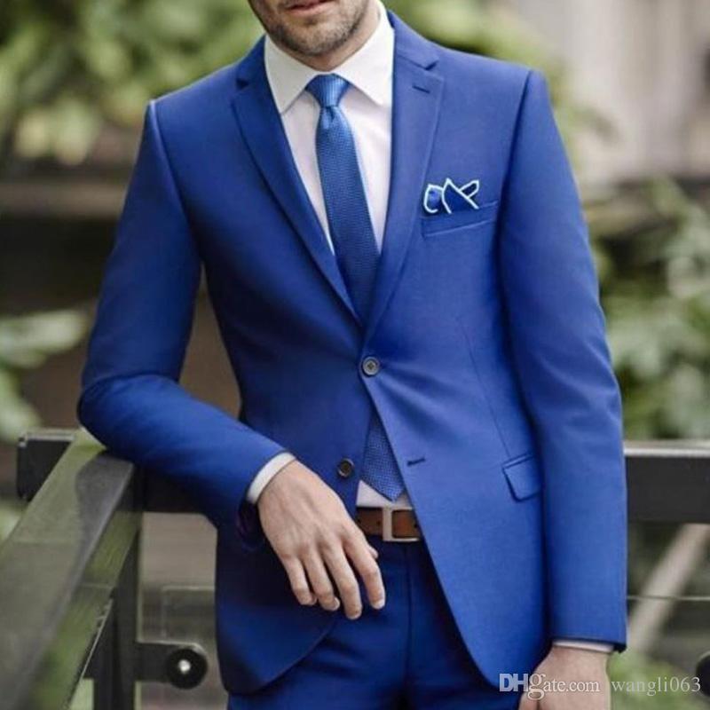 2018 Royal Blue Wedding Groomsmen Tuxedos Зубчатого отворот Обрезка Fit Двухкусочного Бизнес Формальных Мужские костюмы сшитые (куртка + Pant)