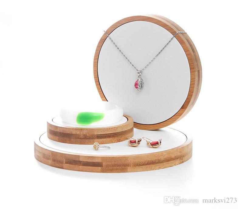 Legno naturale di bambù ornamenti titolare staffa bracciale collana orecchini display puntelli semplice moda rotonda tre pezzi espositore gioielli