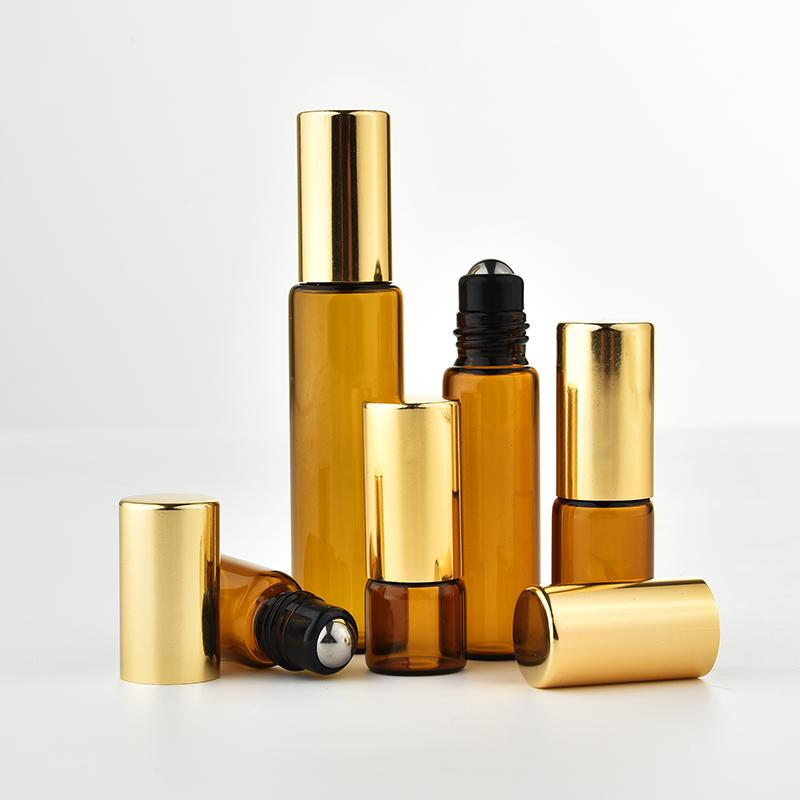 5pcs lot 1ML 2ML 3ML 5ML Amber Roll On Roller Bottle for Essential Oils efillable Perfume Bottle Deodorant Containers with ball