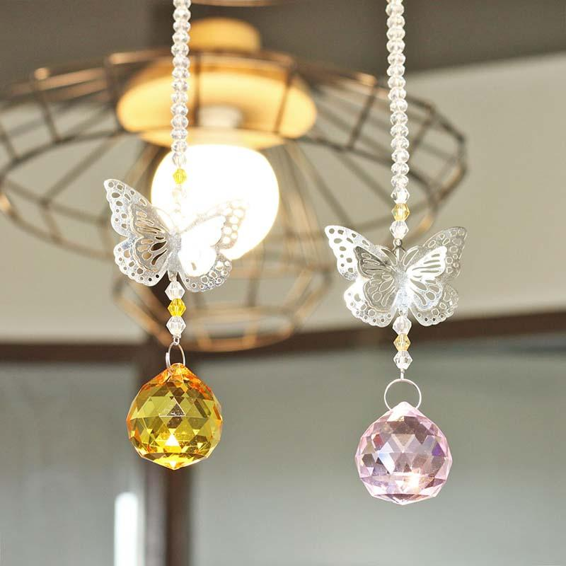 H&D 30mm Handmade Butterfly Crystal Ball Prisms Rainbow Maker Hanging Suncatcher Home Wedding Decoration Favors Gifts for Family