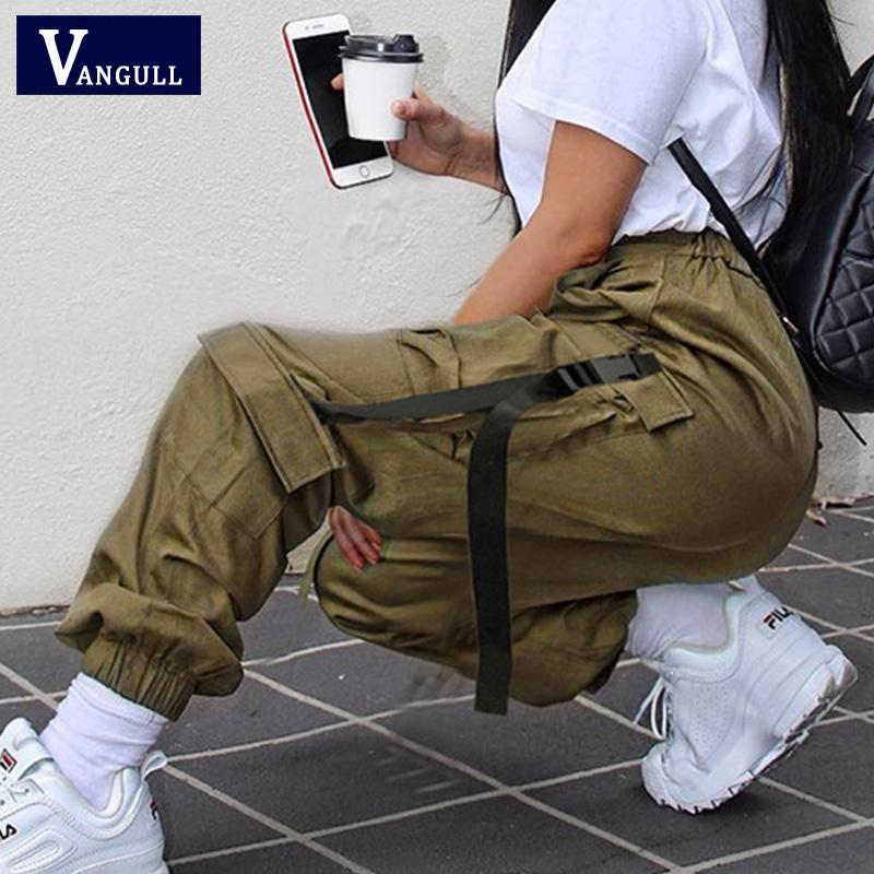 Vangull Kadınlar Toka Kemer Kurdele Cep Gevşek Jogger Pant Yüksek Bel Sokak aşınma Punk Harajuku Hip Hop Sweatpant Kargo Pantolon