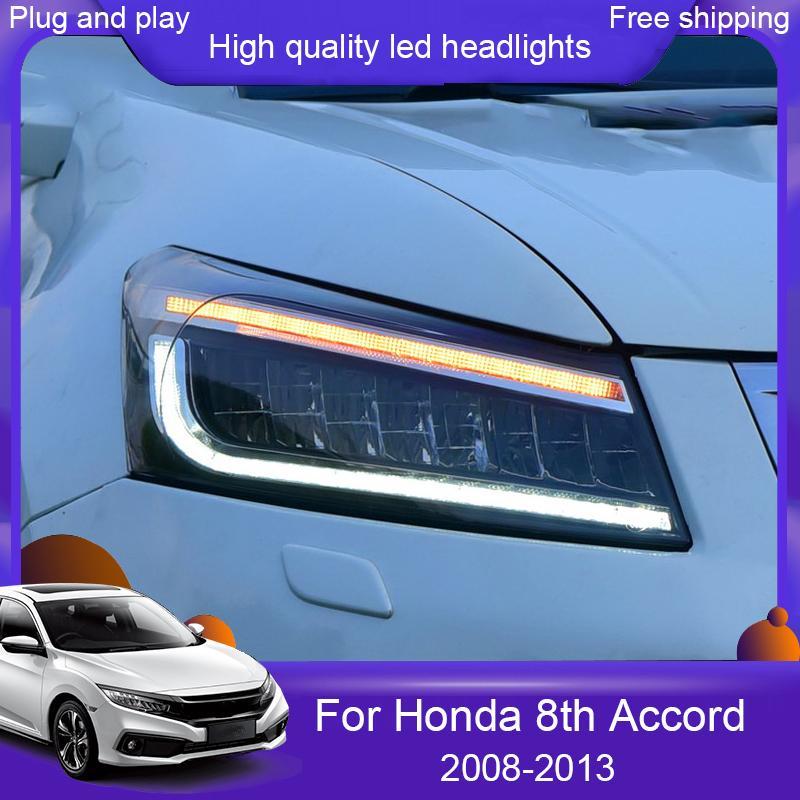 Car styling faro del LED per Honda Accord 8 ° 2008- 2013 Capo della lampada dinamica DRL segnale di giro ha condotto il faro Accessori per automobili