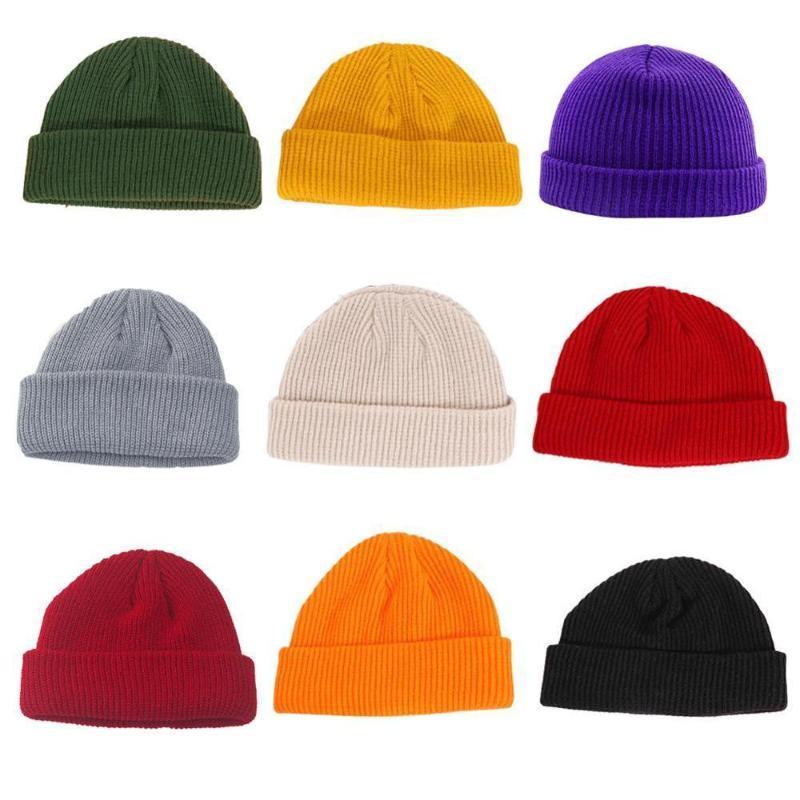Unisex Men Women Beanie Hat Warm Ribbed Winter Turn Ski Fisherman Docker Hats//BF