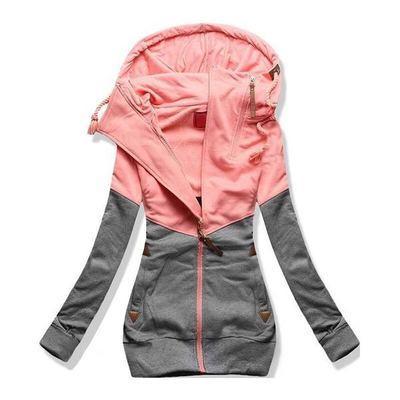 Chaqueta de las mujeres otoño invierno sudadera con capucha de gran tamaño con cremallera sudaderas con capucha más tamaño abrigo femenino sudor Femme