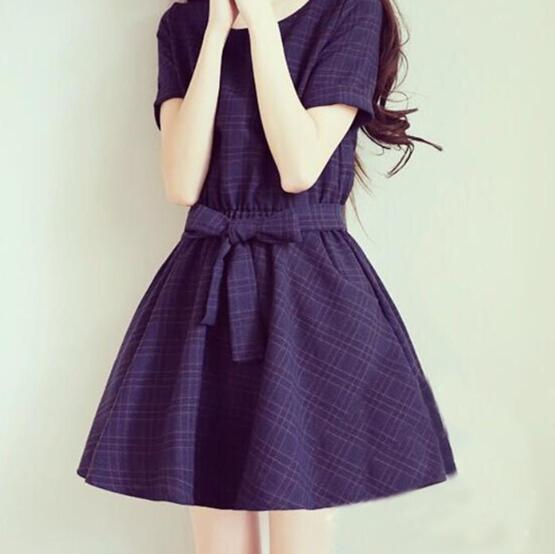 Acheter Robe Japonaise à Carreaux Pour Femmes De Style Japonais New Summer Kawaii Vestiti Donna Noeud Papillon Vestidos Femininos Doux Mignon Junior