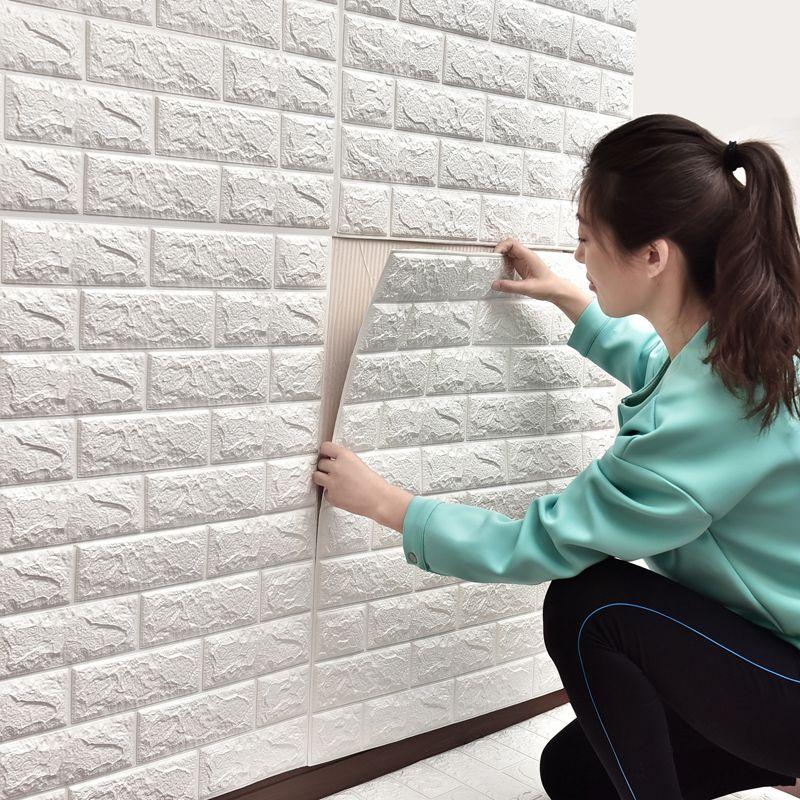 3D Duvar Sticker Kendinden yapışkanlı duvar kağıdı DIY Tuğla Yaşam RoomTV Çocuklar için Emniyet BedroomWarm Ev Su geçirmez Dekor Duvar Sticker 70 * 77cm