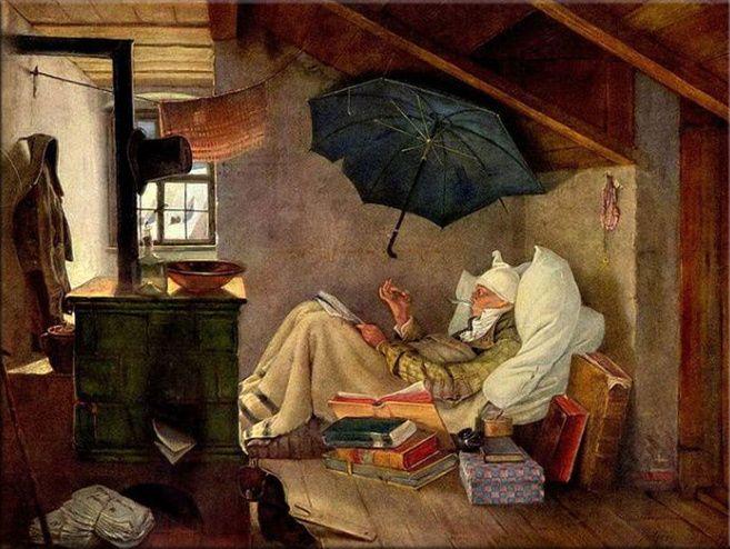 Carl Spitzweg - Der arme Poet Home Decor dipinto a mano HD Stampa Olio su tela di arte della parete della tela di canapa Immagini 200105