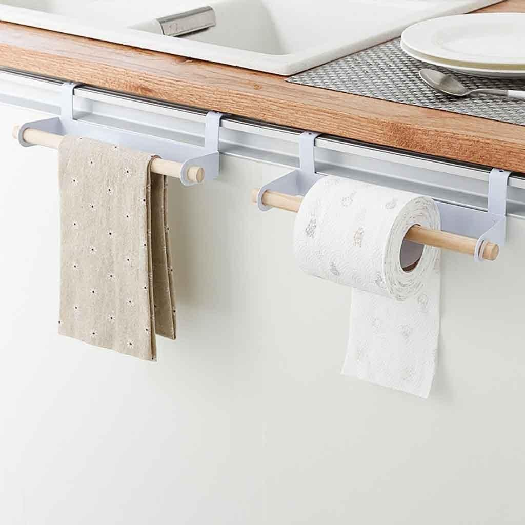 Kitchen Paper Towel Rack Door Cabinet Hanging Free Punching Wrought Iron Cabinet Partition Layer Storage Rack Roll Holder #15