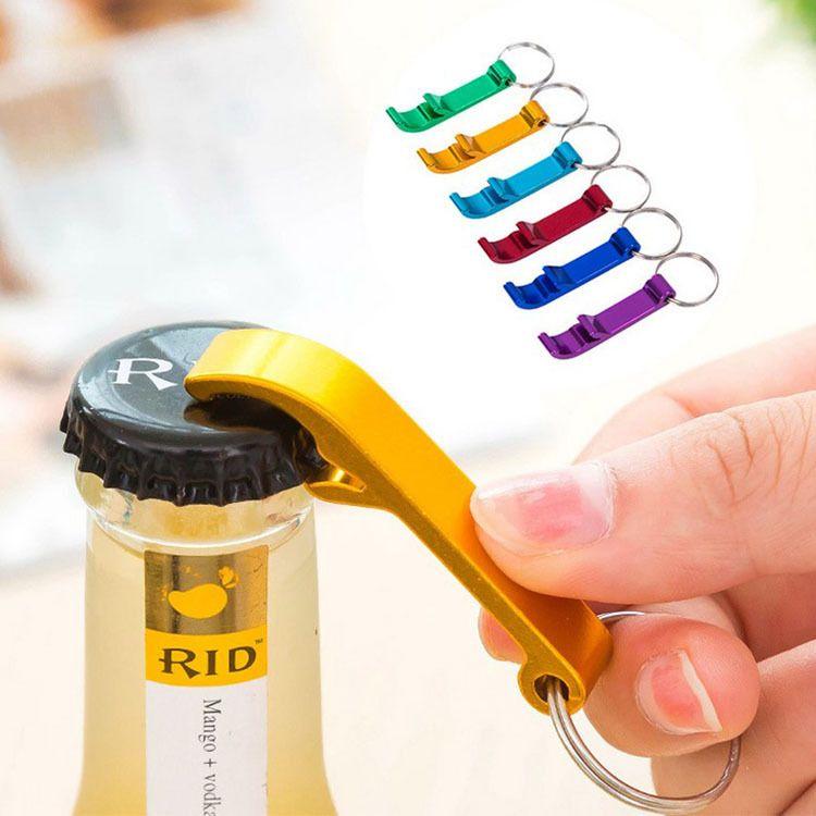 Portable Beer Bottle Opener Keychain 4 In 1 Pocket Aluminum Beer Bottle Opener Can 6 Colors Wedding Party Favor Gifts DLH375