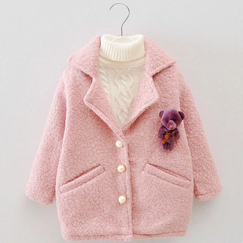 DFXD Baby Girls Autumn Winter Wool Coat Fashion Long Sleeve Soild Single-breasted Outwear High Quality Long Thicken Coat 2-8Y LY191225
