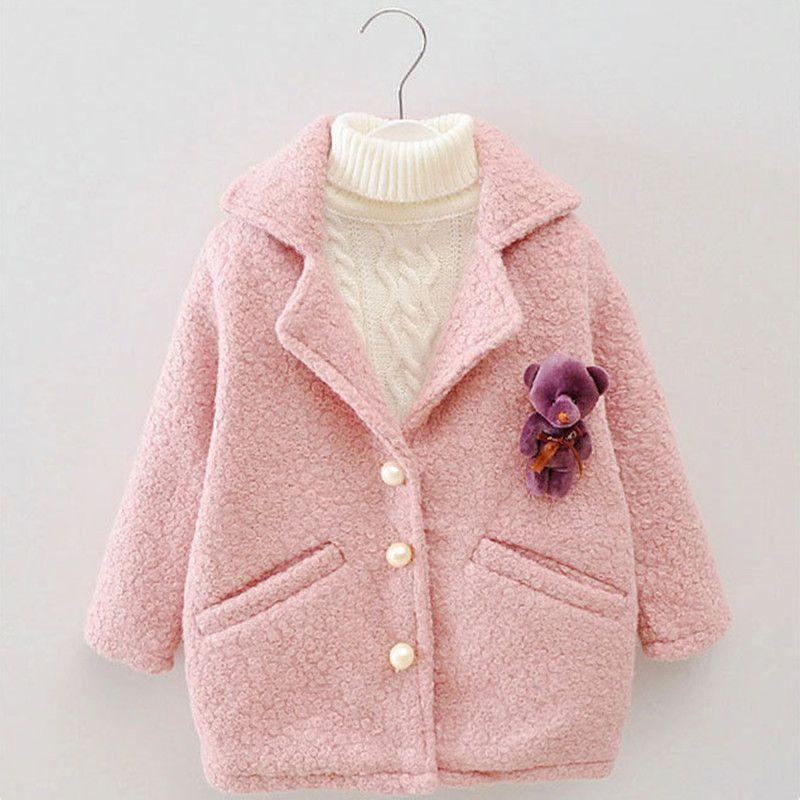 DFXD ребёнков осень зима шерсти пальто мода с длинным рукавом Soild однобортного Outwear высокого качества Длинные сгущают пальто 2-8Y LY191225