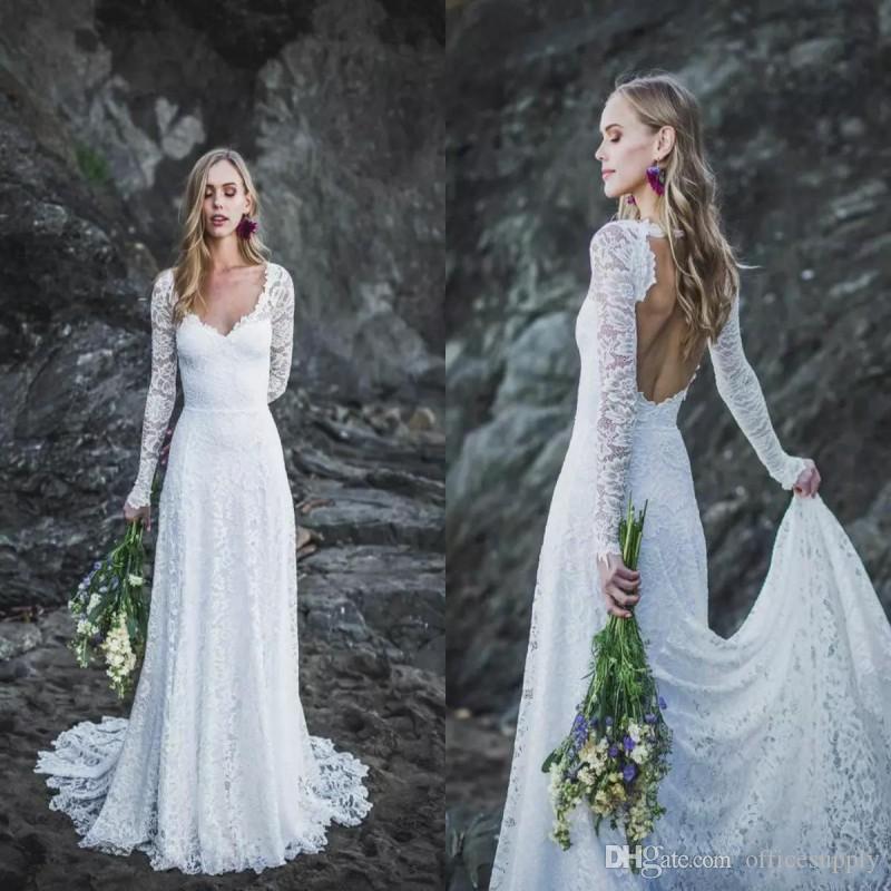 2020 Modest A-Line Wedding Dresses V Neck Hollow Back Sweep Train Long Sleeves Lace Bridal Gowns Cheap Plus Size robe de mariée