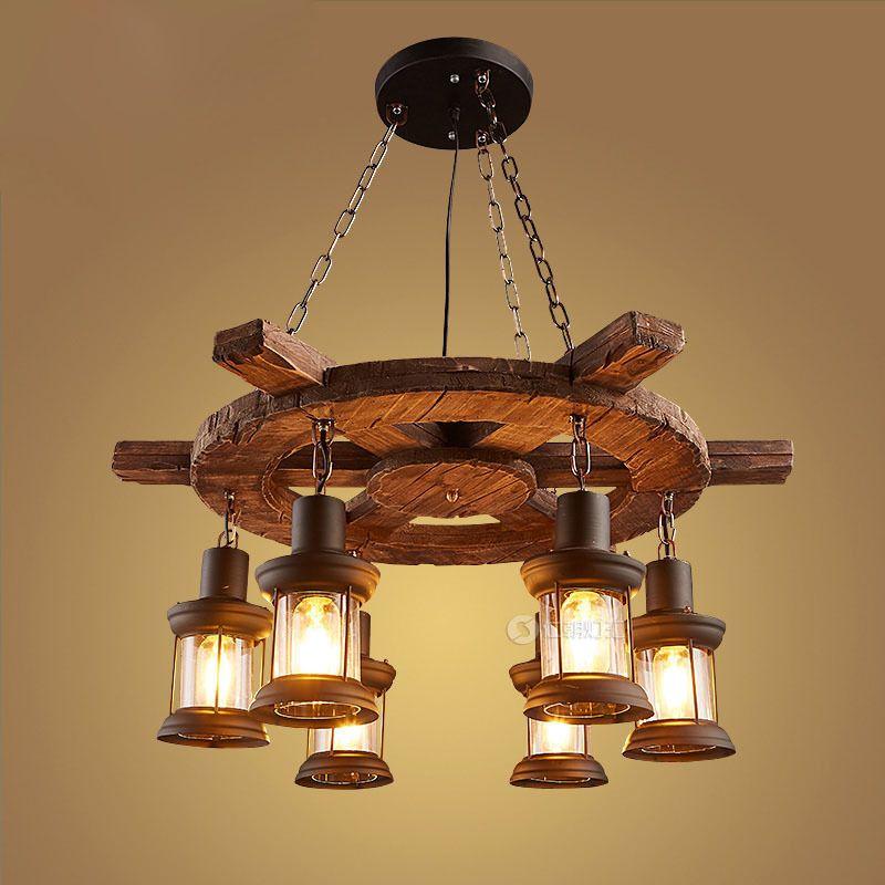 Wood Vintage Lamp Loft Style Industrial Pendant Light Fixtures Bar Coffe Edison Retro Pendant Lights LED Lampe