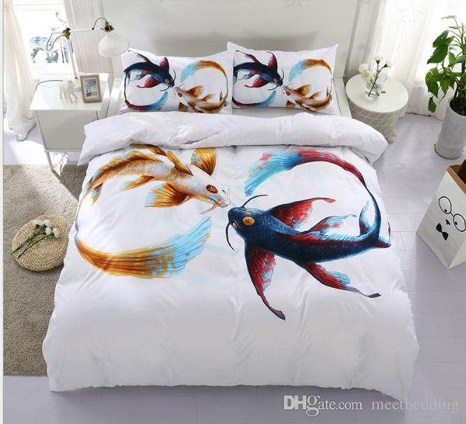 Classical Animals Bedding Set Twin Full Queen Size 2/3pcs Home Textiles with 3d print flying fish for kids Bedding Supplies