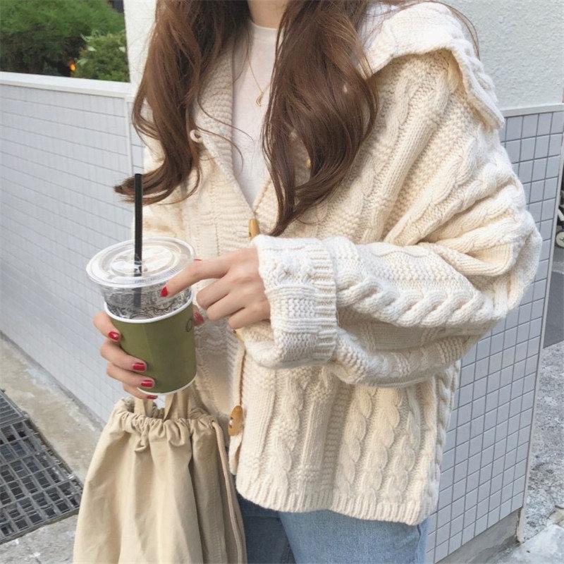 Hzirip preguiçoso estilo Outono Inverno elegante Mulheres Bege Coats Femme Roupa Quente Macio solto Cardigan Casual doce camisola de malha V191130