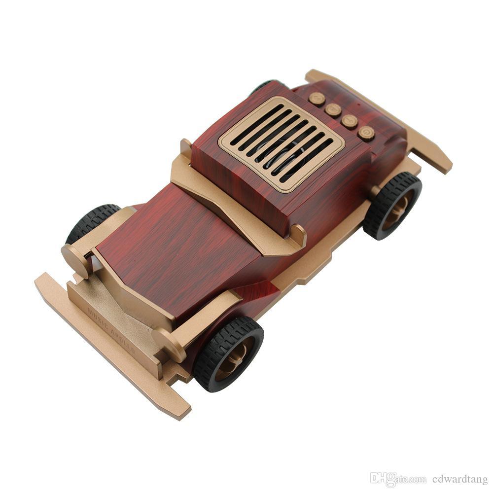 Araba Model Oyuncak, Ahşap Retro Vintage Arabalar Kablosuz Bluetooth Hoparlör, TF Kart ve U Disk Arayüzü Ile, Parti Çocuk Hediyeler, Ev Dekorasyon için