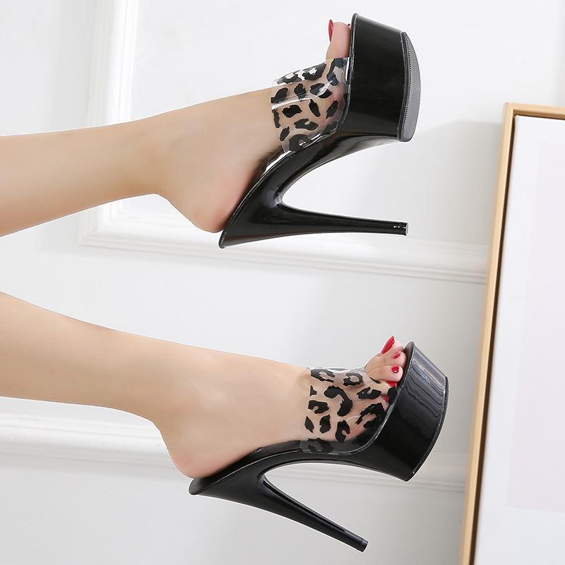 Schuhe der Frauen wasserdichte Plattform-Fisch-Mund-Damen Ultra High-Heel Damen Hausschuhe