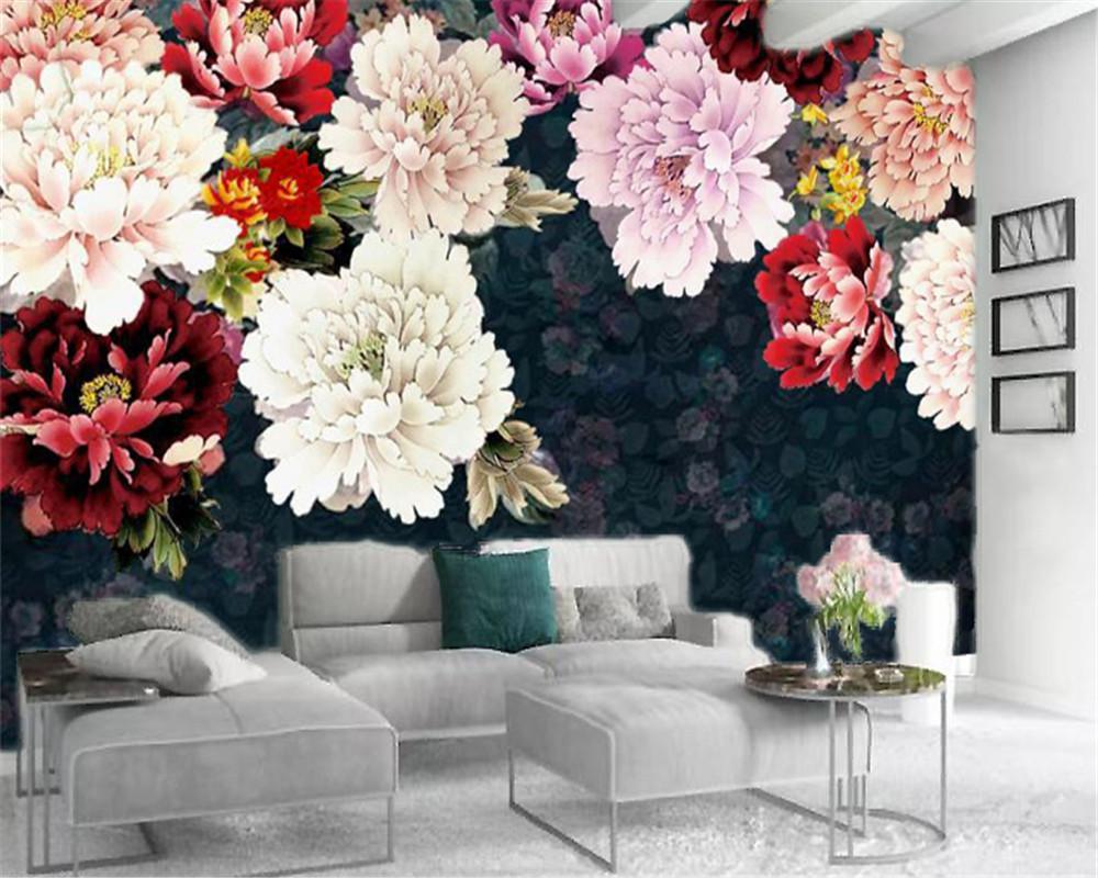 3d Odası Duvar Kağıdı Custom Vintage elle boyanmış narin Şakayık çiçeği Salon Yatak odası İpek Duvar Duvar Kağıdı