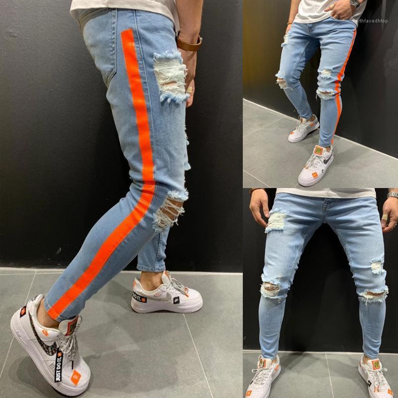 Primavera otoño moda arrancó diseñador azul Biker Jean pantalones para hombre rojo rayas Jeans
