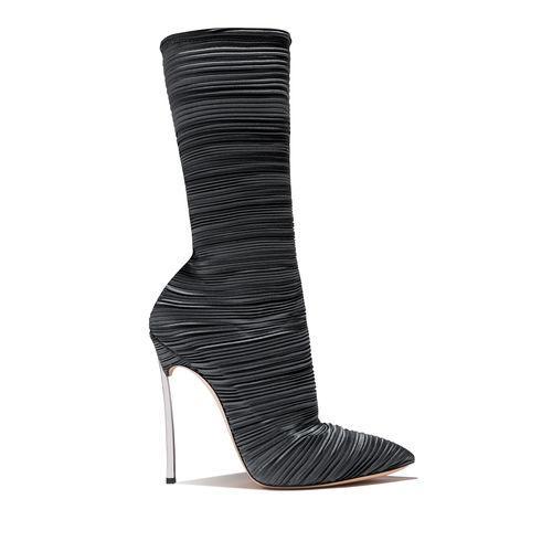 Hot stivali di moda chic Vendita-nuova per le donne tacco oro plissettata sottolineato dita scivolano sulla tronchetti donne scarpe invernali a forma di tacco Special Plus Size