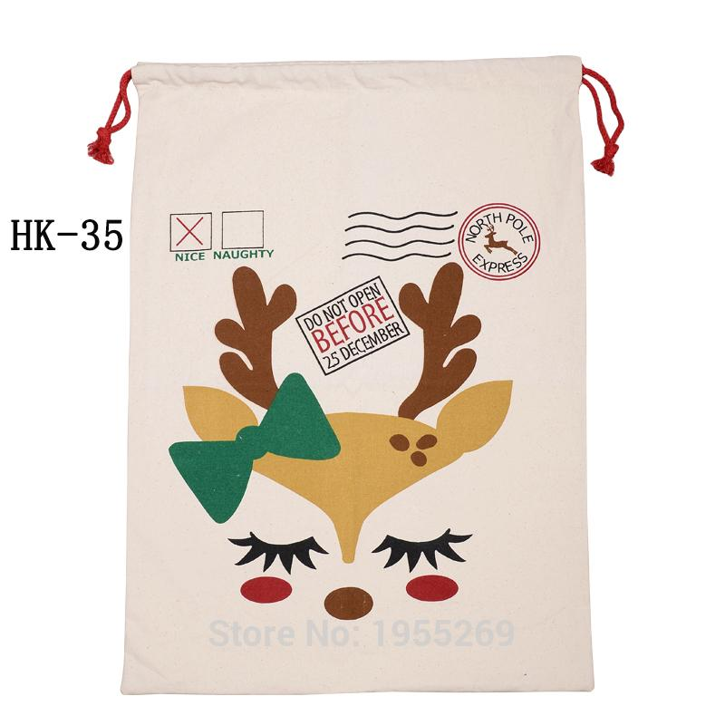Wholesale Christmas Present Bags 50pcs Drawstring Canvas Candy Cane Sacks Handmade Wedding Party Decorations Kids Toy Tote