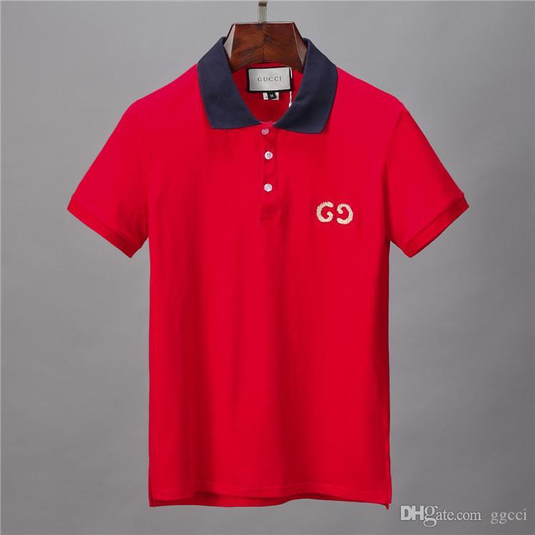 camicie Polos VENDITA CALDA di modo di marca di polo del progettista uomini della maglietta casuale ricamato Medusa cotone Maglietta polo collare High street lusso