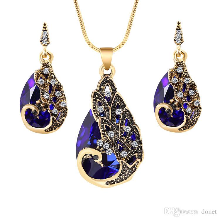 Bohemian 18K Gold Plated Crystal Peacock Pendant Necklace Vintage Punk Style Rhinestone Gemstone Drop Earring Women Jewelry Sets